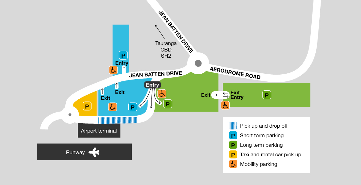 Tauranga Airport parking map